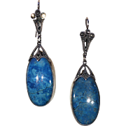 Vintage Marcasite Sodalite Drop Earrings in Silver