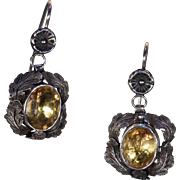 Antique Victorian Silver Citrine Earrings