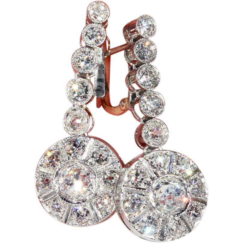 Stunning Art Deco Diamond Earrings, Over 6 Carats!, 1920's in Platinum, *Video*
