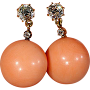 Unusual Antique Edwardian 18k Gold Diamond and Coral Earrings - Clearance Sale!!