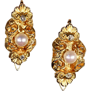 Lovely Antique Gold, Diamond and Pearl Earrings, c. 1870