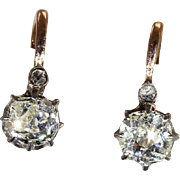 Antique French Front-to-Back Cushion Cut Diamond Earrings, 1.5ctw