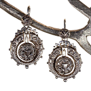Antique Victorian Silver Thistle Earrings, Victorian 1876