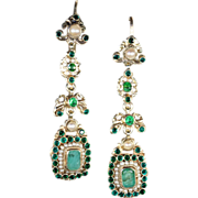 Long Antique Austro-Hungarian Pearl and Emerald Earrings, c. 1900 Silver Gilt