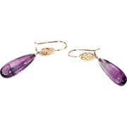 Vintage Amethyst Drop Earrings, 14k Gold and Platinum