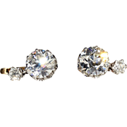 Antique French Diamond Earrings, 3.45 ctw, c. 1910 in 18k and Platinum, *Video*