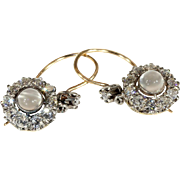 Antique Edwardian Moonstone and Diamond Cluster Earrings in 18k Gold and Silver, *VIDEO*