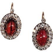 Stunning Victorian Garnet and Diamond Cluster Earrings