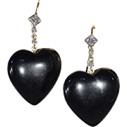 Vintage 1950s Black Onyx Hearts and Diamonds Earrings in 18k Gold