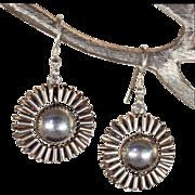 Antique Victorian Ruffle Earrings in Sterling Silver, Fabulous!