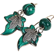 Victorian Malachite and Silver Leaf Earrings Scottish