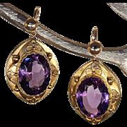 Antique Etruscan Revival Amethyst Earrings, 15k Gold c. 1880