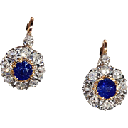 Sapphire and Diamond Cluster Earrings, Antique French