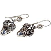 Antique Victorian Silver Acorn Earrings