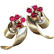Retro Ruby Diamond Gold Earrings