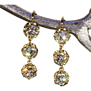 Antique Victorian Triple Diamond Drop Earrings in 18k Gold