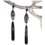 Victorian Onyx Forget-me-not Cameo Earrings Gold