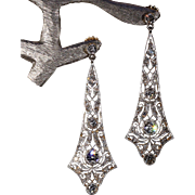 Antique Edwardian Diamond Earrings 2.75cttw Platinum 18k Gold c. 1915