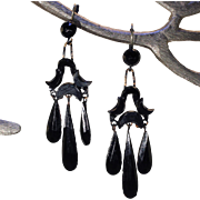 Antique Victorian French Jet Chandelier Earrings