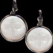 Victorian Antique Rock Crystal Bee Earrings
