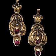 Antique Etruscan Revival Gold Garnet Earrings