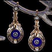 Antique Plique á Jour Enamel Pearl Diamond Earrings