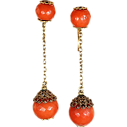 Antique Georgian Cannetille Red Coral Earrings in 18k Gold