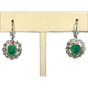Antique Edwardian Emerald and Diamond Earrings in 18k Gold and Platinum, *Video*
