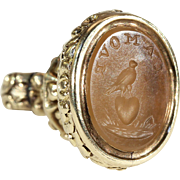 Georgian Gold Cased Fob Seal Pendant 'L'Amour', Love
