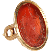 Antique Carnelian Fob Pendant 'Knowledge', in 15k & 18k Gold, circa 1840
