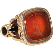 Antique Intaglio Seal Fob Pendant Carnelian Witch on Broomstick Gold