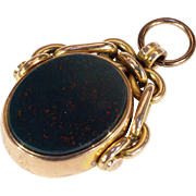 Antique Victorian Watch Flip Fob Pendant Carnelian Bloodstone