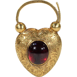 Early Victorian Garnet and Hair Heart Padlock Pendant, Engraved in 15k Gold