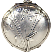 Large Silver French Art Nouveau Floral Locket Pendant Compact