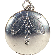 Antique Silver Art Nouveau Locket with Paste Gem