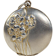 Antique Silver Daffodil Flower Locket, Double Sided
