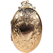 Antique Victorian Heart Motif 9k Rose Gold Locket, Circa 1890, Large