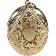 Antique Victorian Ivy Motif Locket in 15k Gold