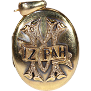 Mizpah Locket in 15k Gold, Antique Victorian