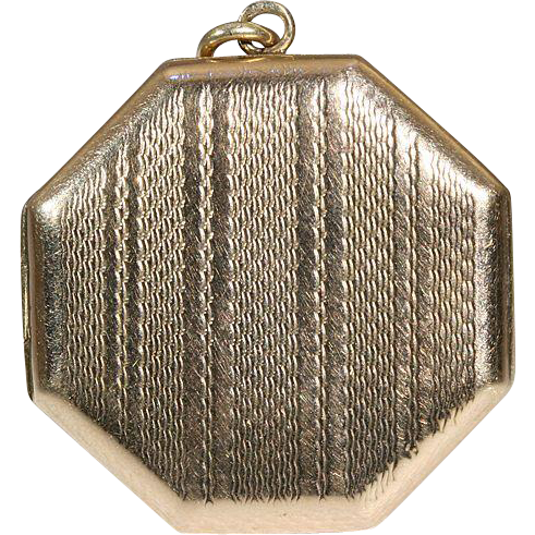 Vintage Art Deco Gold Octagonal Locket, 9k