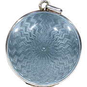 Antique Guilloche Enamel Silver Locket Grey