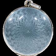 Antique Guilloche Enamel Silver Locket Grey