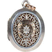 1880s French Silver Locket Horseshoe
