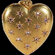Antique French Rose Cut Diamond Heart Shaped Locket Pendant