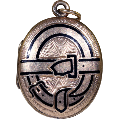 Antique 9k Victorian Enameled Memorial Locket c.1860