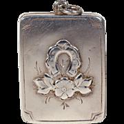 Antique Victorian Silver Horseshoe Flower Locket