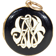 Antique Victorian Memorial Locket in Black and White Enamel, Dated 1862