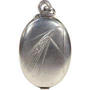 Antique French Silver Slide Locket Pendant with Wheat Motif and Mirror