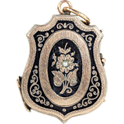 Antique 9k Gold Black Enamel & Pearl Shield-shaped Memorial Locket