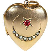 Antique Edwardian Crescent Moon and Star Heart Locket, Pearl and Red Paste in 9k Gold